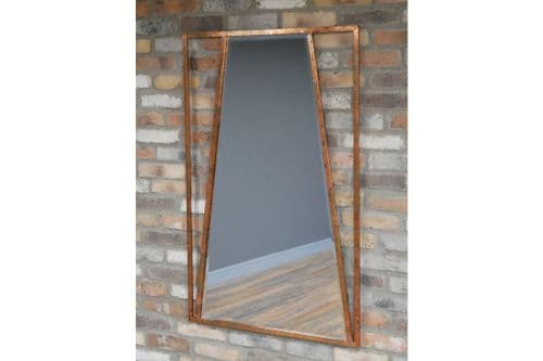 Industrial Distressed Metal Copper Finish Wall Hanging Mirror (DX6604) 120cm